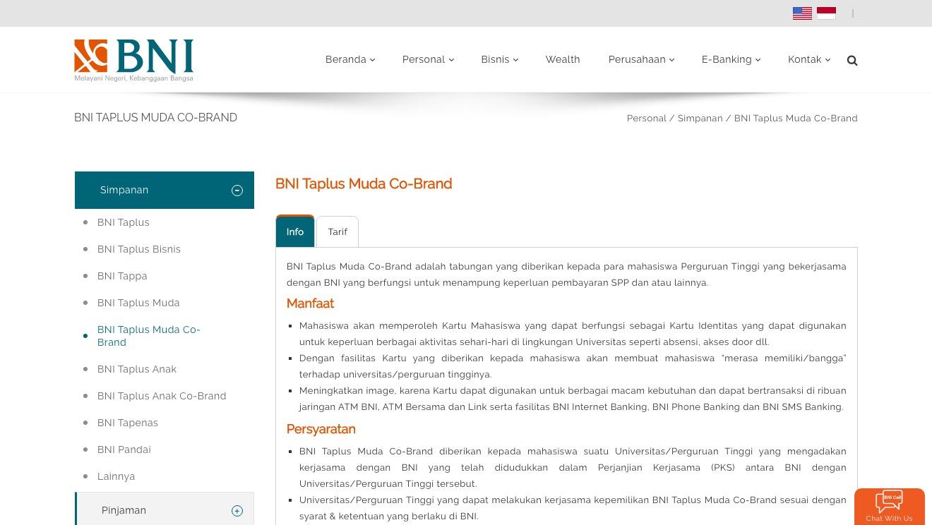 BNI Taplus Muda Co-Brand