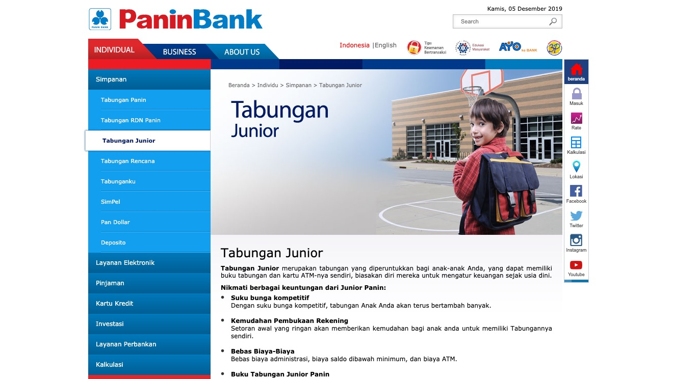 Tabungan Junior Panin Bank
