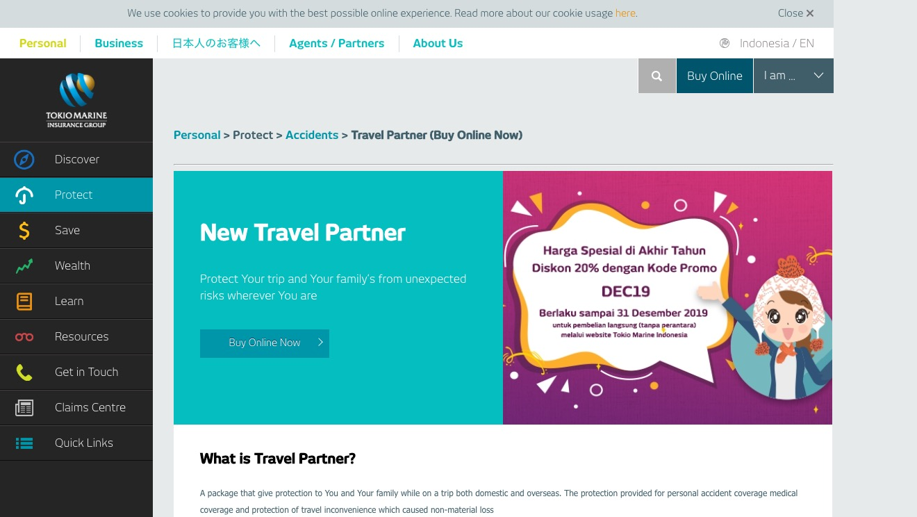 Tokio Marine New Travel Partner Gold