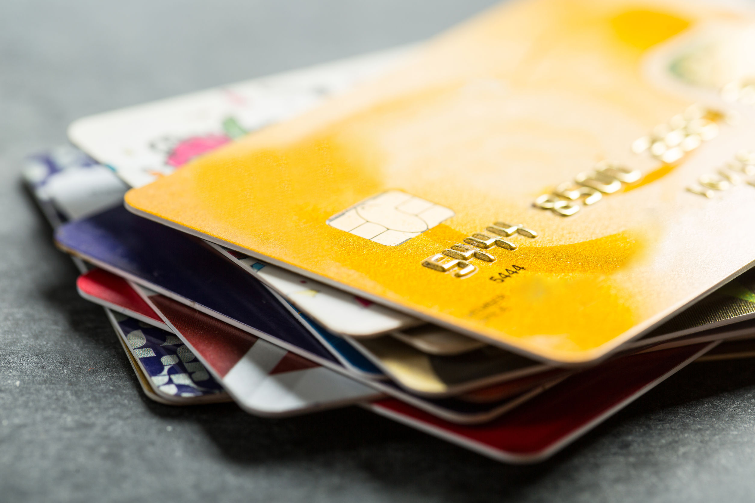 Stock Photo - Credit cards for payment products with your business.