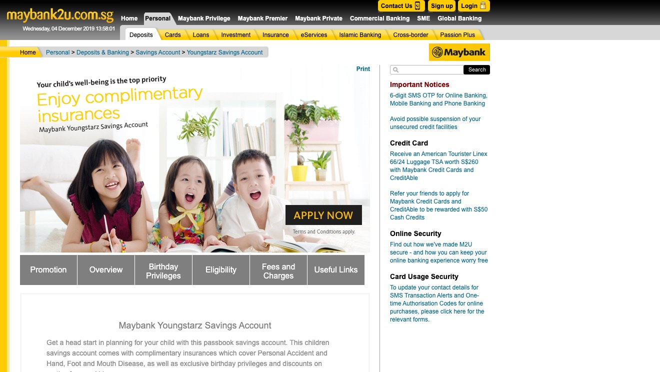 Maybank Youngstarz Savings Account