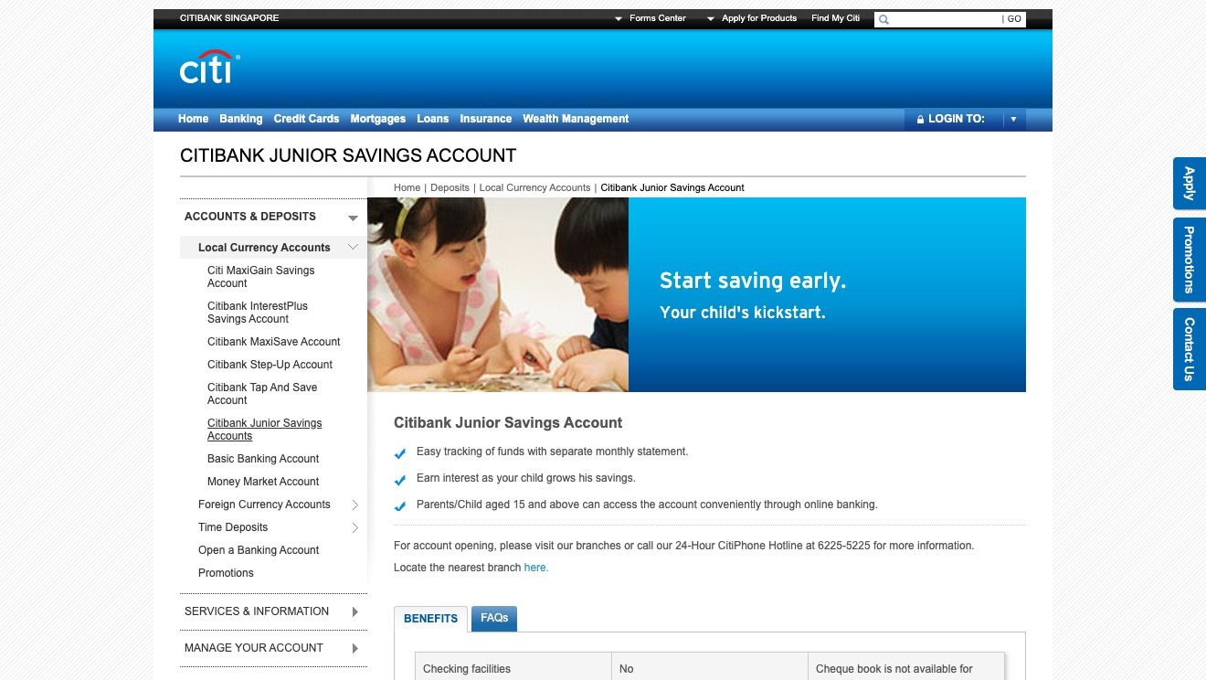 Citibank Junior Savings Account