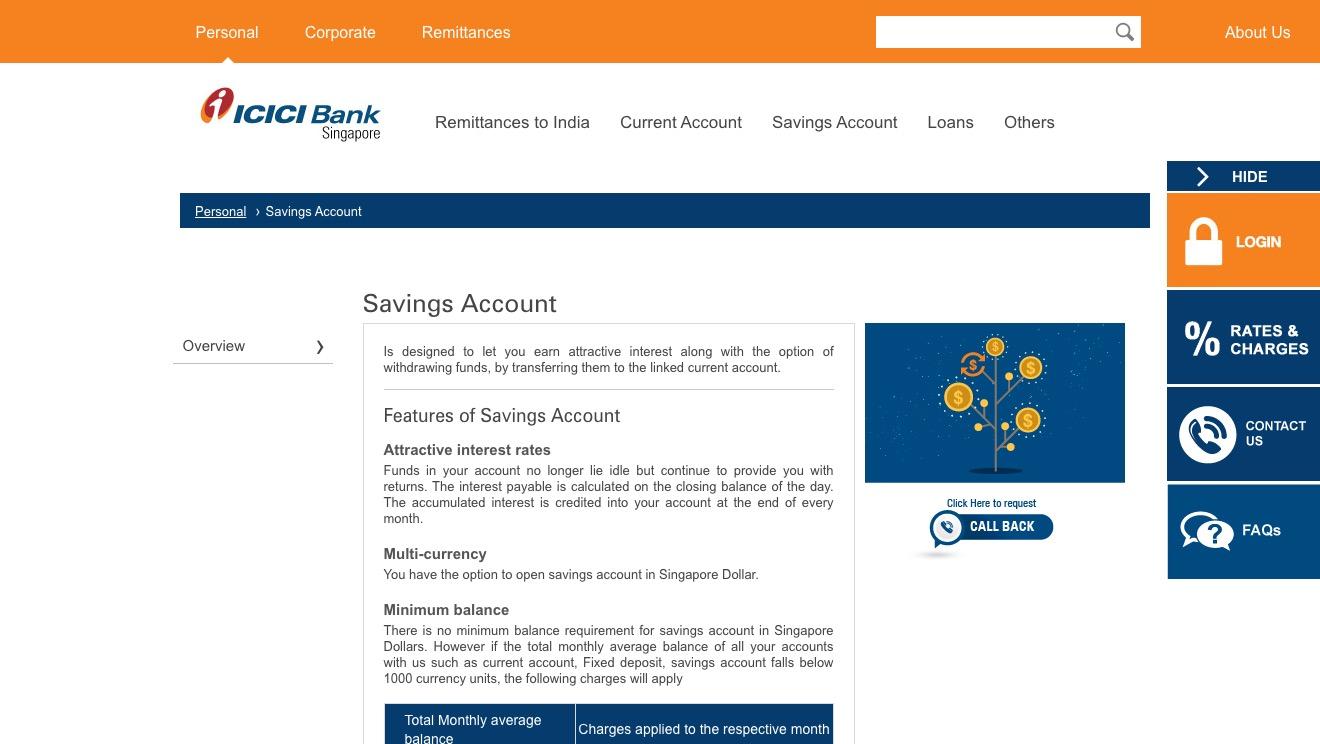 ICIC Bank Savings Account