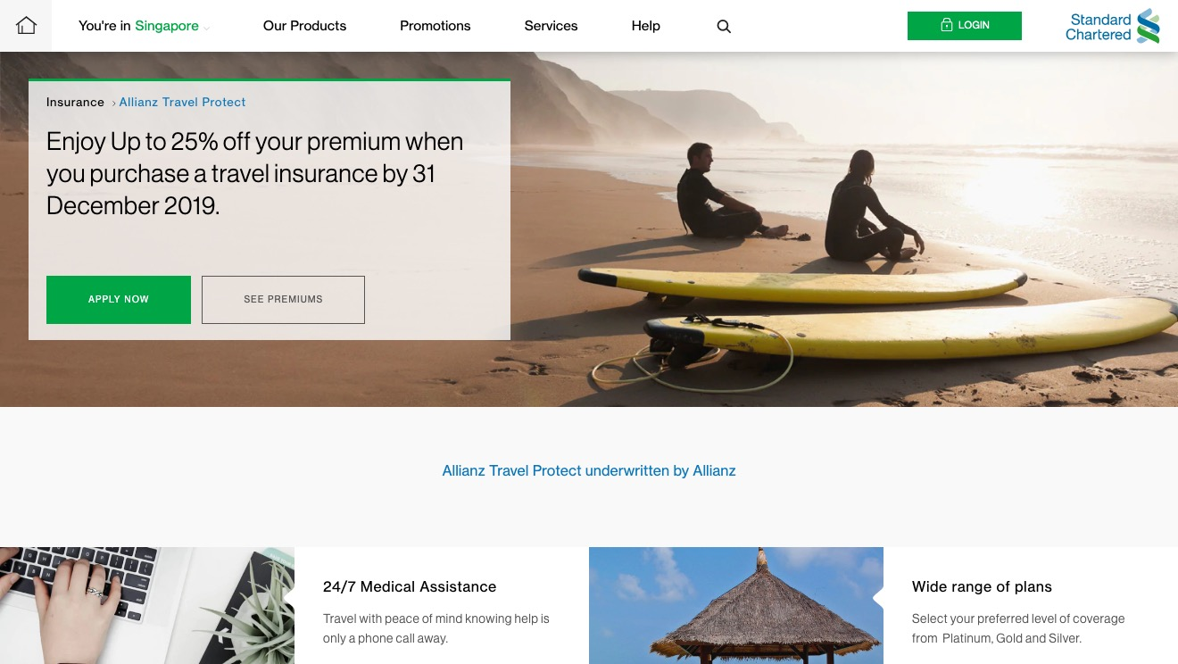 Allianz Travel Protect  Single Trip Gold Plan - Standard Chartered